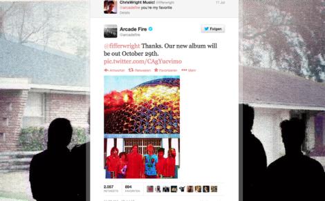 """Screenshot von Arcade Fire's Twitter Account, in welchem sie den 29.10.13 als Album Release Date von """"Reflektor"""" festsetzen"""