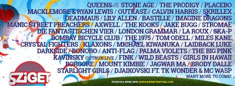 Ein Teil des diesjährigen Sziget Festival Line Ups.