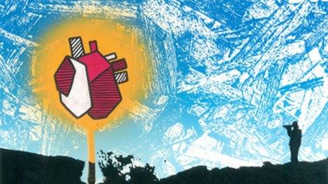 Eines der 12 nominierten Alben: Polar Bear - In Each And Everyone zeigt ein kritzeliger Himmel, in welchem ein überzeichnetes leuchtendes Herz schwebt.