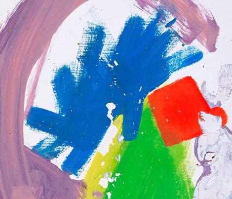 """Eine violette Umrahmung umrahmt grobe Pinselstrichfarbklekse in den Grundfarben und in grün. Das ist das Albumcover von Alt-J´s zweitem Album """"This Is All Yours"""""""